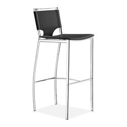 ZUO MODERN - Lark Bar Chair Black (set of 2) - This elegant chair combines class, style, and a touch of modern lines for a very clean look. There is a solid footrest for great bar seating support. With a chromed steel tube frame and a leatherette sling seat and back, the Lark bar chair is a perfectly balanced chair.