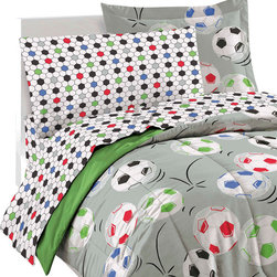CHF Industries Inc - Soccer Balls Full Bedding Set 7pc Comforter Sheets - Features: