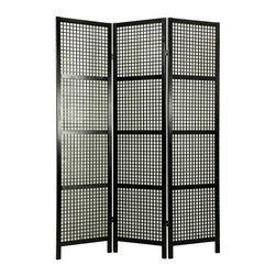 Oriental Unlimted - 6 ft. Tall Miyagi Shoji Screen (3 Panels / Black) - Finish: 3 Panels / BlackThousands of tiny squares incorporated into the lattice design of this multi panel screen add visual interest and depth to any space. Fine Shoji woodworking techniques show forth in this classic, durable room divider that can be used to define a space or lend it character. Position it strategically to maximize the potential of your room and floor space. Screens may vary slightly in color. Miyagi room divider is designed for defining space and creating interest rather than providing privacy. It is slightly heavier and more substantial than some rice paper shoji screens. With fine open lattice work and no rice paper shade. Constructed using Japanese shoji woodworking techniques. Panel frames and lattice are crafted from durable and lightweight Scandinavian Spruce. Panels are constructed using mortise and tenon joinery. Lacquered brass, 2-way hinges mean you can bend the panels in either direction. Black finish. Assembly required. Each panel: approximately 17.5 in. L x .75 in. W x 72 in. H. 3 Panel screen: approximately 53 in. wide flat, approximately 45 in. wide with panels folded to stand upright (as shown)