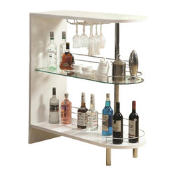 Coaster - Coaster Contemporary Bar Table with Glass Shelf in White - Coaster - Home Bars - 101064 - This contemporary bar table is a sleek option for your living room or dining room. The unit includes a unique shape with an arch shape to the table top and shelves. A center glass shelf complements the white color and chrome color accents on the railing feet and support road. Stemware storage where you can hang wine glasses adds to the sophisticated style of this bar unit.