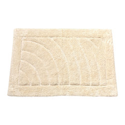"Large-Sized, Cotton Bath Mat in Ivory - Ivory 100% Cotton Single Sided Bath Mat, Size 21""x34"". This Large-Sized (21'' w x 34'' l), 100% Cotton Bath Mat is soft, absorbent, machine-washable, and built to endure its share of stamping and trampling. Here in Ivory, this product is available in a variety of fashionable colors and a smaller (17'' w x 24'' l) size.  Machine wash in warm water, line dry, reshape as needed"