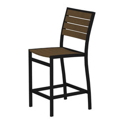 PolyWood - Euro Counter Height Side Chair by Polywood, Black/Teak - This counter side chair adds height to the smart design, making it the perfect companion to our square counter height tables. Polywood furniture is constructed of solid polywood recycled materials--  lumber that's available in a variety of attractive, fade-resistant colors. It won't splinter, crack, chip, peel or rot and it never needs to be painted, stained or waterproofed. It's also designed to withstand nature's elements as well as to resist stains, corrosive substances, insects, fungi, salt spray and other environmental stresses.