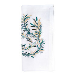 Plume Napkin - White and Teal - Its beauty is as light and airy as birdfeather, which is only fitting given its name. The Plume Napkin - White and Teal boasts a delicate plume in gentle shades of cloud white and soft teal. An imaginative addition to a tablescape presented on a sun-speckled terrace, garden patio, or an eclectic dining room with aviary accents.