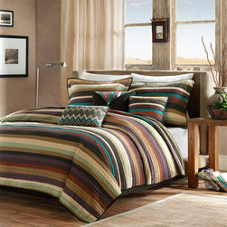 Madison Park - Madison Park Yosemite 6 Piece Quilted Coverlet Set - For an updated look, this Yosemite quilt set can bring a brand new esthetic to any room. The quilt is made from polyester microfiber for easy care and the mesh of purple, teal, and earth tones come together with thin striping to create a beautiful look. The two shams that come with this set have corresponding striping to match the quilt perfectly. For added color and dimension, three decorative pillows are worked into this collection with zig zag patterns and stripes to add a pop of the top of the quilt. Coverlet & Sham: 100% polyester micro fiber 75gsm brushed printed fabric on face, solid polyester brushed fabric back, 85% cotton 10% polyester 5% rayon fill, all over quilted with self fabric binding, prewash finish; Square Pillow: 100% polyester micro fiber 75gsm brushed fabric cover, with pritned brushed fabric flap with strings knoted, piping around, 100% poly fill; Oblong Pillow: 100% polyester micro fiber 75gsm solid brushed fabric cover, contrast color pintuck and pieced with
