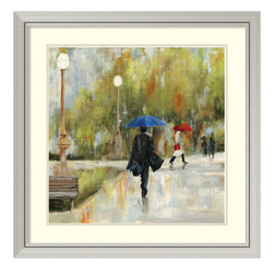 Amanti Art - Aimee Wilson 'I Will Be There I' Framed Art Print 33 x 33-inch - Intriguing, yet romantic, this framed art print by Aimee Wilson features a woman with a bright blue umbrella walking on a rainy day.
