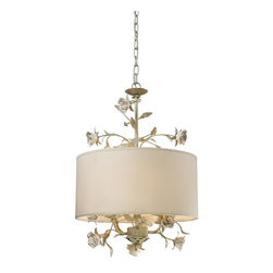 Sterling Industries - 3 Light Down Lighting Pendant With Cream Fabric Shade With Flower Insets - Sterling Industries was founded in the mid-1990s to fulfill a dream.