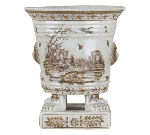 Oriental Danny - Porcelain planter - Hand painted porcelain planter in subtle tone farm pattern. All hand made.