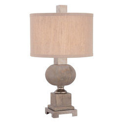Quoizel - Quoizel Winhall Table Lamp X-T7471HWKC - The Winhall table lamp is a combination of wood, metal and fabric to create an understated but elegant design. The drum shade is featured in tan fabric linen and compliments the soft and angled edges of the base.