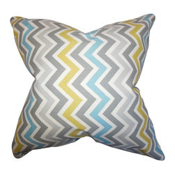"""The Pillow Collection - Howel Zigzag Pillow Gray Blue 20"""" x 20"""" - Hip and trendy, this decor piece brings a sunny vibe to your home. This throw pillow features a zigzag pattern in shades of gray, blue, white and yellow. Add a punch of color to your sofa, bed or seat with this 20"""" pillow. Crafted in the USA and made of 100% soft cotton fabric."""