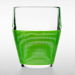 Design House Stockholm - Timo Termo Hot/Cold Glass Green- 4pc Set - Design House Stockholm - Timo Sarpaneva called the Timo glass his finest glass ever. Made of heat resistant glass, the Timo glass is durable against sudden temperature changes, like when pouring boiling hot coffee into a cold glass. Its mid-section is slightly thicker to prevent hot beverages from burning the hand. The top is slightly inclined to prevent the edge of the glass to be damaged in the dishwasher. The bottom is cone-shaped to fit in both small and big hands. Now the Timo glass is available with an outer spiral-shaped layer of silicone. The additional layer makes the glass easier to handle when filled with hot beverages, protecting the hand from the heat; and makes it less slippery when wet. It is also dishwasher-safe. All together it's a terrific example of how form follows function.