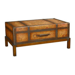 Hammary - Hammary T73254-00 Hidden Leather Rectangular Cocktail Table with Nail Head Trim - The Hidden Treasures collection is a fabulous assortment of one-of-a-kind accent pieces inspired by the greatest furniture designs from around the world. Each selection is a true treasure - rich in Old World icons and traditions. All the pieces in this collection are crafted with attention to every detail. From brass nailhead trim and exquisite hand-painting to elegant shaping and decorative trim  every item is a unique work of art. A wide variety of materials is used to create the perfect look and finest quality - from exotic woods  leather and stone to raffia and glass. The huge selection of finishes  hardware  exceptional carvings and other final touches offer unsurpassed versatility for any room in the home. Hidden Treasures includes cocktail tables  occasional and accent pieces  trunks  chests  consoles  wine racks  desks  entertainment units and interesting storage pieces. Place one in a comfortable reading nook... in the family room for flair and variety... in the foyer for a welcome look... in a bedroom for cozy style... or in the office for function and versatility. The pieces in this collection mix beautifully with any decorating style and will easily become the focal point in any setting.