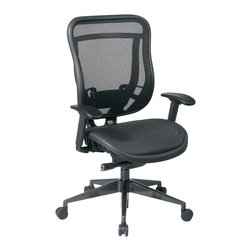 Office Star - Office Star Executive High Back Chair With Breathable Mesh Seat and Back - Executive High Back Chair with Breathable Mesh Seat and Back. Breathable  Mesh Seat and Breathable Mesh Back with Adjustable Lumbar Support. One Touch Pneumatic Seat Height Adjustment. Deluxe 2-to-1 synchro Tilt Control with 3-Position Lock, Anti-Kickback, Seat Slider and Tilt Control. Height Adjustable Arms with PU Pads. Rated for 300 Lbs. Heavy Duty Angled Gunmetal Finish Base with Oversized Dual Wheel Carpet Casters. What's included: Office Chair (1).