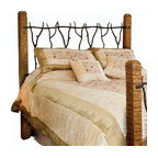 Mathews & Company - South Fork Wrought Iron Headboard - Enjoy rustic yet elegant look in your bedroom by furnishing it with this South Fork Wrought Iron Headboard. All beds are hand crafted by one of our skilled artisans and comes in several sizes. Natural pieces of carved wood form the four corners of the bed frame and are creatively joined together at the headboard by hand forged pieces of iron. Make your guest bedroom or your own bedroom cozy and warm by adding this bed that makes a unique decoration as well as a useful piece of furniture. Pictured in Black finish.