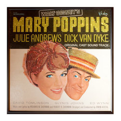 """Glittered Mary Poppins Album Disney - Glittered record album. Album is framed in a black 12x12"""" square frame with front and back cover and clips holding the record in place on the back. Album covers are original vintage covers."""