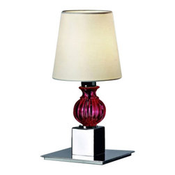 "AVMazzega - AVMazzega Dandy 10000/T1 Table Lamp - The Dandy table   lamp by AVMazzega has been designed by M & M. A rack of elegant  canes, a must for ""800 gentlemen, inspired those lamps that embody the  concept of ""Eccletici"" in the catalogue of Venetian chandeliers by  AVMazzega. The sober chromed shapes of the frames bled with the classic  line of the glass elements, creating  a new style. This table lamp comes with chrome gold metal frame.  Product Details:  The Dandy table  lamp by AVMazzega has been designed by M & M. A rack of elegant canes, a must for ""800 gentlemen, inspired those lamps that embody the concept of ""Eccletici"" in the catalogue of Venetian chandeliers by AVMazzega. The sober chromed shapes of the frames bled with the classic line of the glass elements, creating  a new style. This table lamp comes with chrome gold metal frame. Details:                                     Manufacturer:                                      AVMazzega                                                                  Designer:                                     M & M                                                                  Made in:                                     Italy                                                     Dimensions:                                      Small:Diameter: 5.5"" (14 cm) X Height: 11.4"" (29 cm)                           Large:Diameter: 7.1"" (18 cm) X Height: 20.9"" (53 cm)                                                                  Light bulb:                                      Small:1 x E14 Max 40W              Large:1 x E27 Max 75W                                                     Material:                                      Murano glass"