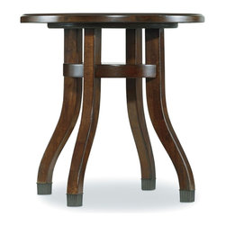 "Hooker Furniture - Hooker Furniture Palisade Round End Table - If you embrace modern style but still revere traditional design, and if you seek a contemporary flair but appreciate classic beauty, then the Palisade collection offers you the best of both worlds. Rubberwood Solids with Highly Figured Walnut and Cathedral Walnut Veneers. Dimensions: 24""W x 24""D x 24""H."
