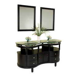 "Fresca - Fresca Unico Espresso Vanity w/ Mirrors - Dimensions of vanity:  63""W x 21.63""D x 33.75""H. Dimensions of mirror:  23.63""W x 31.5""H. Materials:  Solid wood frame, glass countertop/sink. Single hole faucet mounts. P-traps, faucets, pop-up drains and installation hardware included. This is a double sink version of the Simpatico Vanity (FVN3330ES). This double sink espresso vanity is really a contemporary twist on baroque furniture.  Clear glass basin and a wide mirror really make this ensemble great for those looking to not just update their bathroom, but keep it classic."