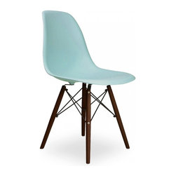 Design Lab MN - Mid Century Surfin Side Chair with Walnut Wood Base, Set of 5 - Add a classic touch to your space with this beautiful 1950s-inspired shell chair. Featuring a beautiful muted turquoise blue seat and a pure walnut wood base, you won't find a better side chair than this if you are looking to create an authentic smart modern dining space.