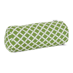 Majestic Home - Outdoor Sage Bamboo Round Bolster - Your decor — indoors or out — is really on a roll with bolster. Since the fabric's been treated with UV protection, the bamboo print will keep its good looks when the sun beats down.