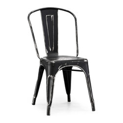 Design Lab MN - Tolix Style Stackable Vintage Matte Black + Silver Steel Side Chair (Set of 4) - As seen in many bistros across France, the tolix side chair is a classic piece used for generations.