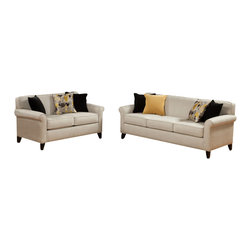 "Benchley - 2-Piece Elliston Cream Fabric Upholstered Sofa and Love Seat Set - 2-Piece Elliston cream fabric upholstered sofa and love seat set with rounded slim arms and piping trim accents. Sofa measures 88"" x 36"" x 34"" h. Love seat measures 63"" x 36"" x 34"" h. Chair and ottoman also available separately. This set comes as shown or available in ebony color also."