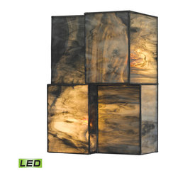 Elk Lighting - Elk Lighting Cubist Collection 2 Light Sconce In Brushed Nickel  - 72070-2-LED - 2 Light Sconce In Brushed Nickel  - 72070-2-LED in the Cubist collection by Elk Lighting Cubes of tiffany glass are assembled into a structure of offsetting staggered cubes, creating an innovative textural expression.  With hardware finished in Brushed Nickel, this series comes with a choice of white or limited edition dusk sky tiffany glass.   Wall Sconce (1)