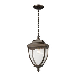 ELK Lighting - ELK Lighting Brantley Place 27012/1 Outdoor Pendant - Hazelnut Bronze - 11W in. - Shop for Pendants and Hanging Fixtures from Hayneedle.com! Reminiscent of an antique street lamp the ELK Lighting Brantley Place 27012/1 Outdoor Pendant - Hazelnut Bronze - 11W in. has a traditional style with a gently curved frame. Built from solid cast aluminum this pendant light is finished in hazelnut bronze and has clear seedy glass panels on all four sides. It comes with 36 inches of hanging chain so you can install it at the perfect height for your favorite outdoor space and uses one 100-watt bulb (not included).About E.L.K. LightingIn 1983 Adolf Ebenstein Jonathan Lesko and Russell King combined their lighting expertise to form E.L.K. Lighting Inc. From the company's beginning in eastern Pennsylvania it has become a worldwide leader featuring manufacturing facilities and showrooms in the U.S. and abroad. Award-winning designs and state-of-the-art engineering give their lighting outstanding quality and value and has made E.L.K. the choice of such renowned places as the Historic Royal Palaces of England and George Vanderbilt's Biltmore Estates. Whether a unique custom design or one of their designer lines all products are supported by highly trained technical and customer service teams. A commitment to providing superior lighting products with unmatched customer satisfaction remains at the heart of the E.L.K. family tradition.Please note this product does not ship to Pennsylvania.