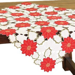 Xia Home Fashions - Holiday Poinsettia Embroidered Cutwork Table Topper, 34 by 34-Inch - A classic Christmas pattern, it features lovely hand rendered cutwork and embroidered Holiday Poinsettias. This collection will make it a holiday season to remember. Machine wash cold water, no bleach, lay flat to dry. Steam iron as needed.