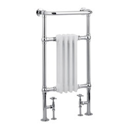 "Hudson Reed - Marquis Heated Towel Warmer Rail 19.5"" x 37"" With Traditional Valves in Chrome - Marquis Traditional Heated Towel Radiator - frame manufactured from quality chrome plated 1.25 inches brass tubing for a true period look incorporating a 4 column white period style radiator. Ideal for use in the bathroom, kitchen, cloakrooms etc."