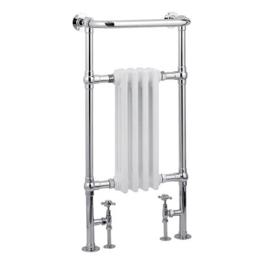 """Hudson Reed - Marquis Heated Towel Warmer Rail 19.5"""" x 37"""" With Traditional Valves in Chrome - Marquis Traditional Heated Towel Radiator - frame manufactured from quality chrome plated 1.25 inches brass tubing for a true period look incorporating a 4 column white period style radiator. Ideal for use in the bathroom, kitchen, cloakrooms etc."""
