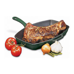 Paderno World Cuisine - Chasseur blue rectangular grill with cast-iron handle - This line of products is ideal for indoor grilling. This heavy grooved cast-iron surface retains heat and guarantees quick and flawless results.