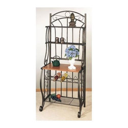 "Old Dutch - Baker's Rack - Organize your kitchen with this elegant baker's rack. It's perfect for displaying your favorite dishes and cookbooks, and is also ideal for storing a microwave or small television. The baker's rack also features a convenient wine rack. Features: -Ventilated metal accessory shelves.-Five bottle wine rack.-Large particle board shelf with attractive wood finish.-Collection: Wyndham Road.-Hardware Finish (Finish: Pewter): Black.-Hardware Finish (Finish: Linen White): Brass screws, white end caps.-Hardware Finish (Finish: Forest Green): Black.-Hardware Finish (Finish: Copper): Black.-Distressed: No.-Powder Coated Finish: Yes.-Frame Material: Steel.-Hardware Material: Steel screws, plastic end caps.-Rust Resistant: No.-Fade Resistant: Yes.-Scratch Resistant: No.-Tarnish Resistant: Yes.-Stain Resistant: No.-Adjustable Shelves: No.-Removable Serving Tray: No.-Wine Glass Storage: No.-Foldable: No.-Outdoor Use: No.-Swatch Available: No.-Commercial Use: No.-Recycled Content: No.-Eco-Friendly: No.-Product Care: Wipe clean with warm damp cloth and hand dry clean.Dimensions: -Overall Height - Top to Bottom: 68"".-Overall Width - Side to Side: 27.25"".-Overall Depth - Front to Back: 16"".-Shelf Height (Second Shelf) : 12"".-Shelf Height (Third Shelf) : 15"".-Shelf Height (Wine Rack) : 8"".-Shelf Height (Bottom Shelf) : 15"".-Shelf Width - Side to Side: 25.25"".-Shelf Depth - Front to Back (Top Shelf) : 8"".-Shelf Depth - Front to Back (Second Shelf) : 8"".-Shelf Depth - Front to Back (Third Shelf) : 15"".-Shelf Depth - Front to Back (Bottom Shelf) : 11"".-Clearance from Floor to Bottom Shelf: 5.25"".-Overall Product Weight: 33 lbs.Assembly: -Assembly Required: Yes.-Tools Needed: Screw driver, allen key.-Additional Parts Required: No."
