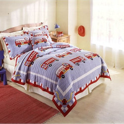 Pem America - Pem America Fire Truck Bedding Set Multicolor - QS0439TW-2300 - Shop for Bedding Sets from Hayneedle.com! Your little fireman will love going to bed with the Pem America Fire Truck Bedding Set. Featuring hand embroidery with brightly colored firetrucks on a blue background highlighted by the fun red and white border this quilt is made from 100% cotton with 100% cotton filling that will keep your little one warm all night long. Bedding Set Components: Twin: quilt 1 sham Full/Queen: quilt 2 shams Quilt Dimensions: Twin: 86L x 68W inches Full/Queen: 86L x 86W inches About Pem America Makers of high quality handcrafted textiles Pem America Outlet specializes in bedding that enhances your comfort and emphasizes the importance of a good night's rest. Comforters quilts pillows and other items for the bedroom are made with care and craftsmanship by Pem America. Their products cover a wide range of materials styles colors and designs all made with long-lasting quality construction and soft long-wearing materials. Details like fine stitching embroidery and crochet decorations and reinforced seaming make Pem America bedding comfortable and just right for you and your family.