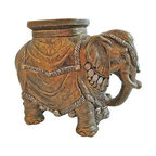 Pre-owned Vintage Elephant Garden Seat - This ornate garden seat is covered with beautiful colors of gold and silver. The trunk symbolizes good luck and good feng shui!