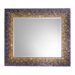 "Mosaic Mirror - Blue & Green (Handmade), 27"" X 21"", Horizontal - MIRROR DESCRIPTION"