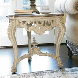 American Drew Jessica McClintock-The Boutique Collection Round Carved End Table - This American Drew Jessica McClintock-The Boutique Collection 217-916W Round Carved End Table – White Veil commands attention with it's elegant and ornate lines.About American DrewFounded in 1927, American Drew is a well-established, leading manufacturer of medium- to upper-medium-priced bedroom, dining room, and occasional furniture. American Drew's product collections cover a broad variety of style categories including traditional, transitional, and contemporary. Their collections range from the legendary 18th-century traditional Cherry Grove, celebrating its 42nd year of success, to the extremely popular Bob Mackie Home Collection, influenced by the world-renowned fashion designer Bob Mackie. Jessica McClintock Home features another beloved designer bringing unique style to an American Drew line. American Drew's headquarters are located in Greensboro, N.C. Their products are distributed through thousands of independently owned retailers throughout the United States and Canada and around the world.