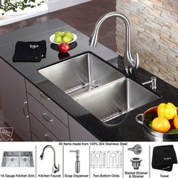 Kraus - 33 in. Double Bowl Sink and Pull out Faucet with Soap - Add an elegant touch to your kitchen with unique Kraus kitchen combo