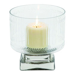 """Benzara - Creative Styled Attractive Glass Candle Holder - Check out this exclusive glass candle holder that will be a great addition to your abode. This candle holder is made of quality glass that will last for years if handled properly. Easy to clean and maintain this glass candle holder will surely entice its onlookers and make you win appreciations from many. You can place this candle holder in dull corners of your room space and brighten up the ambience. Besides, exquisite this candle holder can be used to add charm to professional set ups or spa salons too. Guests and other visitors paying a visit to your place will be surprised to check out this fascinating glass candle holder and appreciate you for adding the same. This glass candle holder also makes a wonderful gift option. Get this glass candle holder right away. Exclusive Glass Candle Holder measures 7 inches (W) x7 inches (L) x8 inches (H); Opaque glass; Durable construction; Dimensions: 5""""L x 3""""W x 16""""H"""