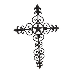 Zeckos - Antique Finish Cast Iron Fleur De Lis and Star Cross Wall Hanging - Add a wonderful antique looking accent to any room in your home with this decorative cast iron wall cross that complements most any decor theme. Measuring 22 1/2 inches tall and 16 inches long it features a Western star accent in the center and regal Fleur de Lis symbols on each end It's highlighted with decorative scrollwork and painted with an aged rust finish. It easily mounts to the wall with a single nail or screw via the keyhole hanger on the back, and is suitable for indoor or outdoor use. It's makes a wonderful housewarming gift and is sure to be admired