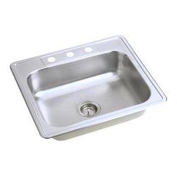"Elkay - Elkay Dayton 25 x 21 1/4 Single Bowl Top Mount Sink with Three Holes (D125213) - Elkay D125213 Dayton 25"" x 21 1/4"" Single Bowl Top Mount Sink with Three Holes, Stainless Steel"
