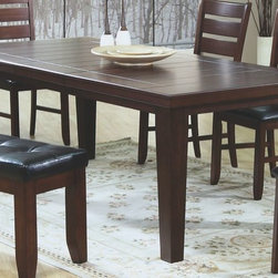 """Monarch Specialties - Monarch Specialties 82x42 Rectangular Dining Table w/ Leaf in Dark Oak - This dining table offers rich design and transitional styling that invites a relaxed setting in your home. The dark oak finish, 18"""" extendible leaf and top grooved slat design make this perfect for an intimate dinner with family or for casual get-togethers. Constructed from solid hardwoods and wood veneers this extra long dining table is quality built and will provide years of lasting enjoyment."""