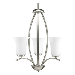 Progress Lighting - Progress Lighting P3587-09 Joy Three-Light Foyer Chandelier with Rod or Chain - From the Joy Collection, this three light, single tier chandelier features fluted etched glass shades and simple curved arms. Enjoy the flexibility of mounting by stem or chain.Features: