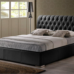 Baxton Studio - Bianca Black Modern Queen-size Bed with Tufted Headboard - The Bianca Bed brings classic elegance to your bedroom. Combining a detailed, foam-padded headboard with simple rectangular queen-sized frame, this modern platform bed is a fusion of the old and the new.