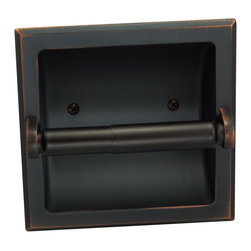 Designers Impressions - Recessed Toilet Paper / Toilet Tissue Holder, Oil Rubbed Bronze - All Metal Construction