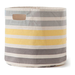 Pehr - Three Stripe Canvas Storage Bin, Grey Yellow Stripe - Our Three Stripe Canvas Storage Bin is a colorful way to tidy up after your home! Made from durable, 100% heavyweight canvas, these bins fit perfectly into your Ikea shelves and will make home organization easy!
