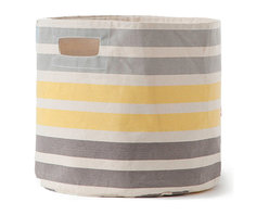 Pehr - 3-Stripe Canvas Storage Bin, Gray and Yellow Stripe - Our Three Stripe Canvas Storage Bin is a colorful way to tidy up after your home! Made from durable, 100% heavyweight canvas, these bins fit perfectly into your Ikea shelves and will make home organization easy!