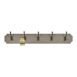 Enchante Accessories Inc - Distressed Solid Wood Coat Rack with 5 Large Iron Hooks, Distressed Grey - This distressed wood coat rack features beautifully aged wooden backplate with 5 Iron large hooks provide sturdy storage for your outerwear, scarves and tote bags
