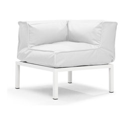 Zuo Modern - Zuo Modern Copacabana Corner in White - Corner in White belongs to Copacabana Collection by Zuo Modern The Copacabana collection is designed for funky versatility. This set has modular pieces of an armless chair, a corner armchair, an ottoman, and a table. The cover is made from a completely waterproof and UV resistant polyester fiber. The frame is made from an epoxy coated aluminum. The fill is 100% pure polystyrene beads. All the cushions can be attached via durable oversize zipper. Have fun with the cushions and throw them in the pool...they will float! Corner (1)