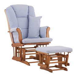 Stork Craft - Stork Craft Tuscany Glider and Ottoman with Free Lumbar Pillow in Oak with Blue - Stork Craft - Rocking Chairs Rockers - 0655453L -Available in 6 wood finishes and 4 fabric combinations to create your own custom Tuscany Glider & Ottoman. The Stork Craft Tuscany Glider and Ottoman set offers gentle motion while feeding your baby in those early morning hours. Featuring a solid construction with a magical sleigh design, this is a royal centerpiece for your nursery. The enclosed metal ball-bearings allow for an incredibly smooth motion to glide your baby back to sleep. Micro fiber spot-cleanable cushions ease the worry about spills, while the construction offers an exquisite finish you'll appreciate far beyond the baby years. The Tuscany Glider comes with a matching soft, plush lumbar support pillow for supporting your baby during feeding times.