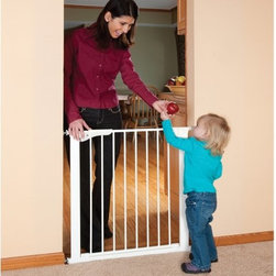 KidCo - KidCo Gateway Gate - White - G1000 - Shop for Safety Gates from Hayneedle.com! Keep your kids and your home safe with the KidCo Gateway Gate - White. Constructed from heavy-duty steel this durable swinging gate features a non-toxic powder-coated finish. The pressure-plus design creates a damage-free installation that sets up easily. Convenient one-hand operation makes use easy (for adults) and the clean white finish easily blends to any existing decor. This gate is great for doorways room dividers and hallways. KidCo does not recommend use at the top of stairs as a floor rail could cause tripping.About KidCoIncorporated in 1992 KidCo specializes in the designing engineering and production of upscale products for juvenile pet and fireplace markets. The pressure-mounted safety gate was a completely new concept that put KidCo on the map and has since been the cornerstone of their business. KidCo offers a comprehensive assortment of child home safety products ranging from cabinet locks to TV straps and much much more. Located in Libertyville IL their state-of-the-art distribution and administration systems ensure that KidCo fulfills their customers' needs and expectations in an efficient and timely manner. Today KidCo personnel still personally ensure the highest level of customer service to both dealers and end consumers.